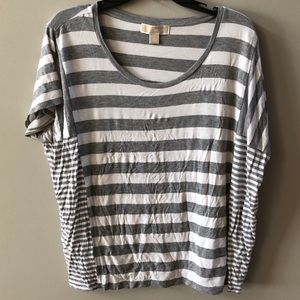 Michael Kors grey and white striped tee. Medium.